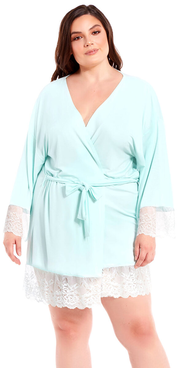 plus size mint robe with white lace trim sexy women's loungewear curvy