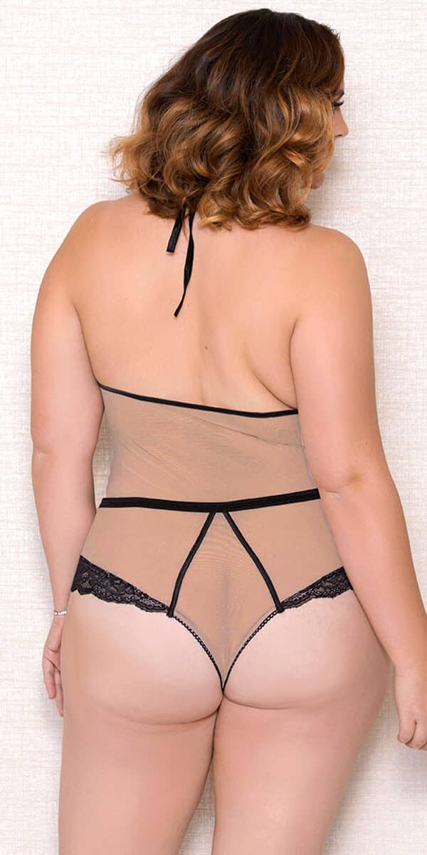 plus size nude and black mesh lace teddy sexy women's lingerie curvy