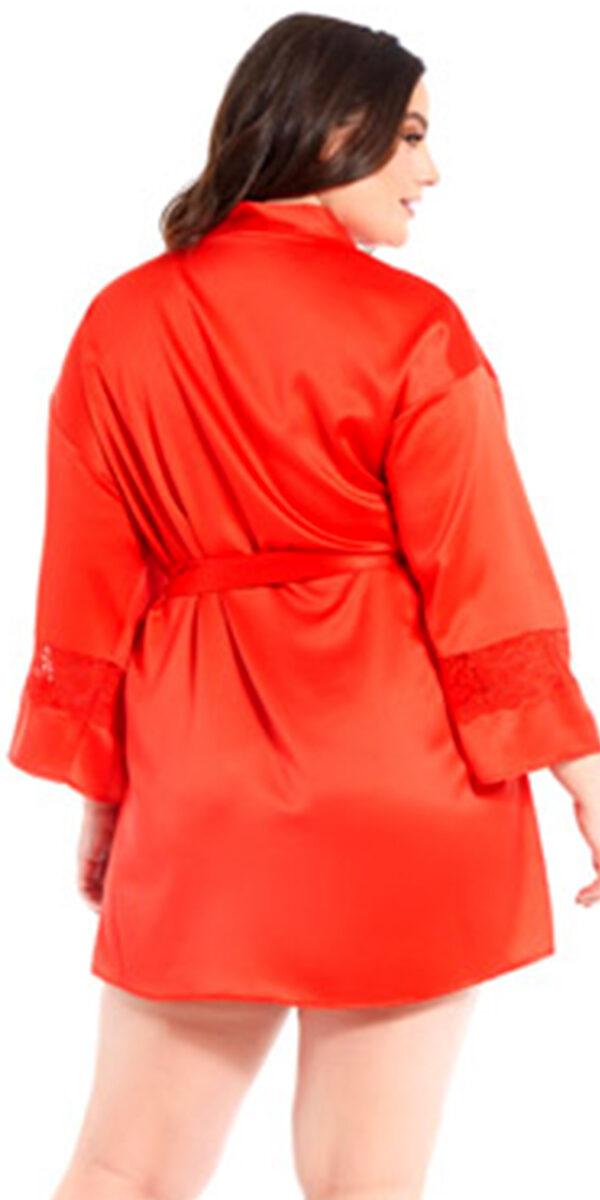 plus size red satin lace insert robe sexy women's loungewear curvy