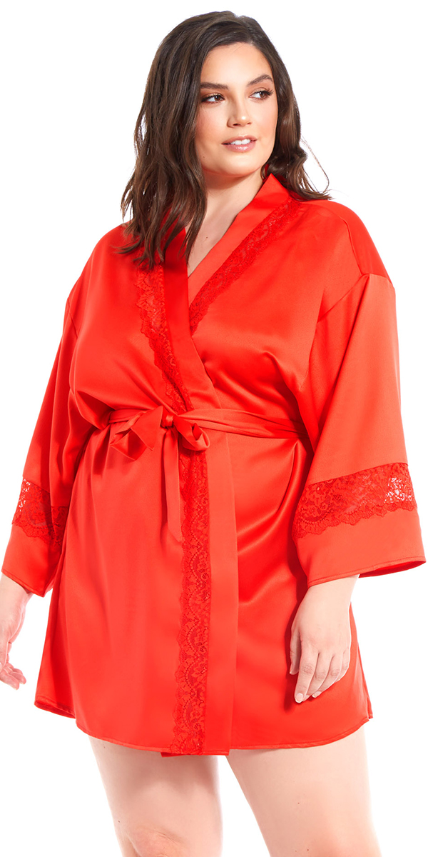 plus size red satin lace insert robe sexy women's loungewear curvy