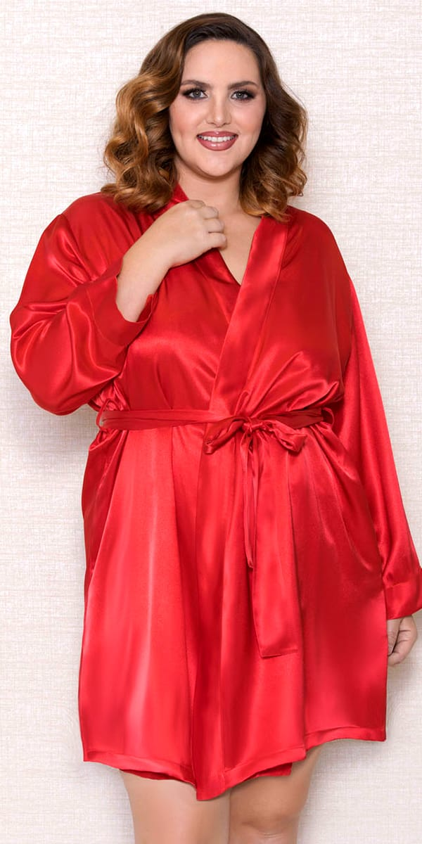 plus size satin robe with long sleeves sexy women's loungewear curvy