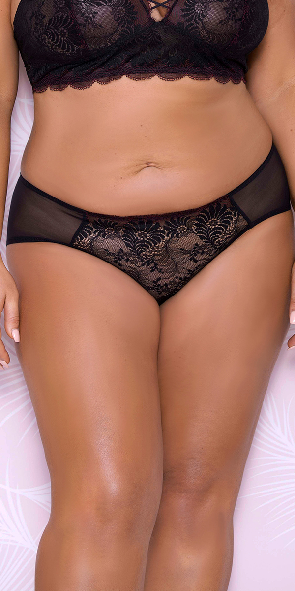 plus size scallop lace mesh hipster sexy women's underwear panties