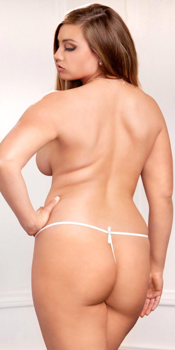 plus size white scallop lace g-string sexy women's underwear curvy thong