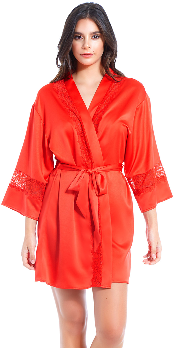 red satin lace insert robe sexy women's loungewear