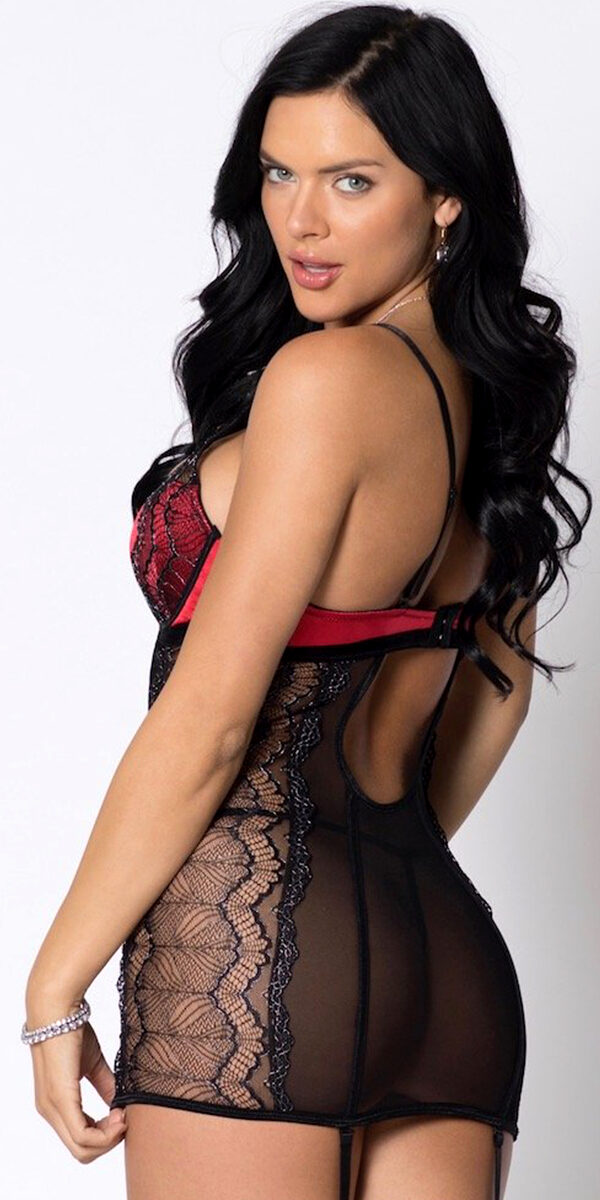 scallop lace mesh chemise with g-string sexy women's lingerie