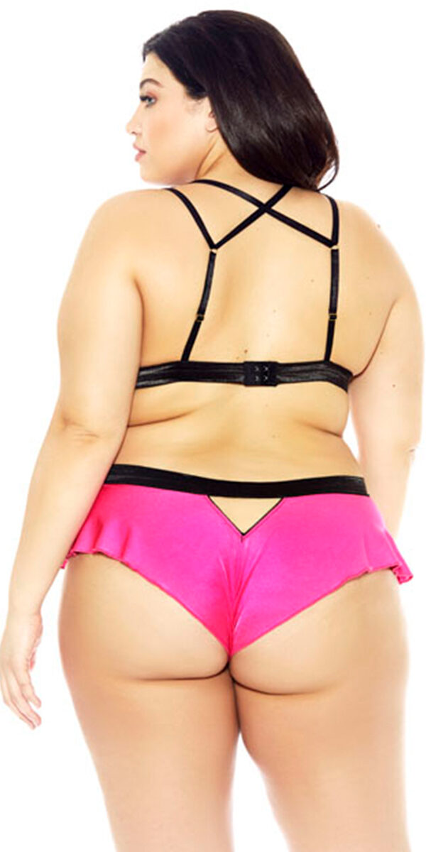 plus size hot pink and black mesh microfiber bra set sexy women's intimates curvy