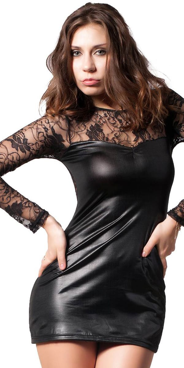 black leather lace mini dress sexy women's clubwear