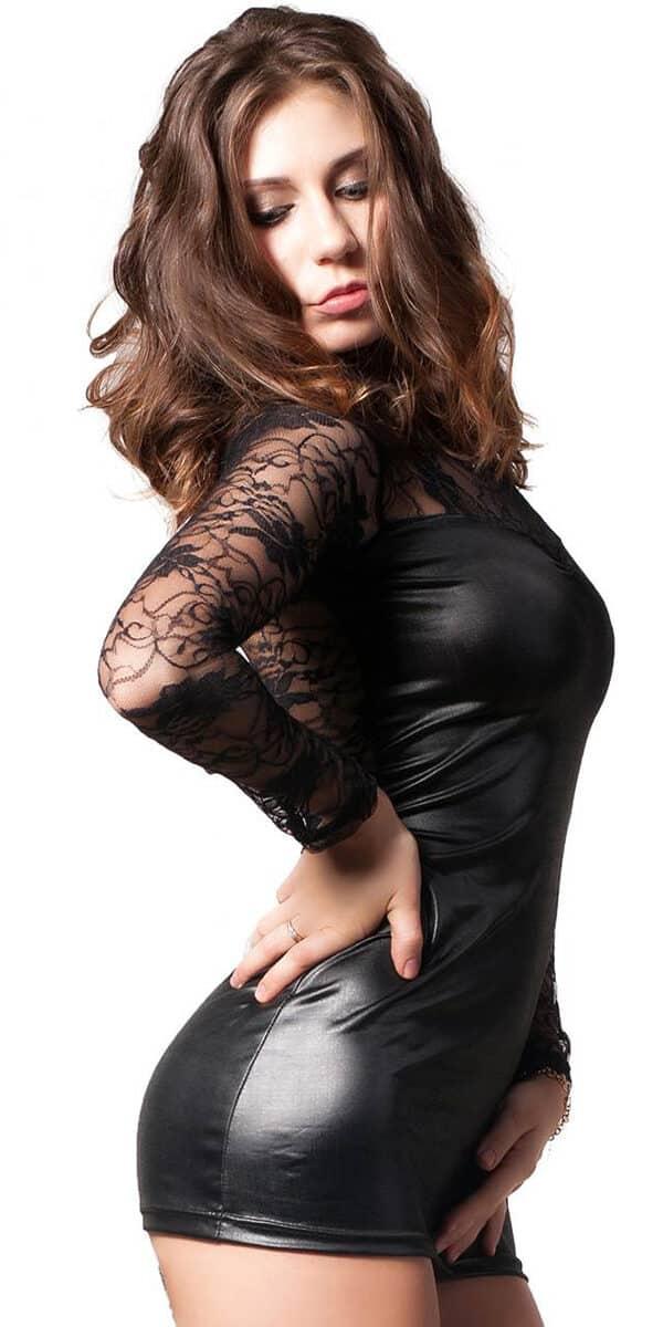 black leather lace mini dress sexy women's clubwear