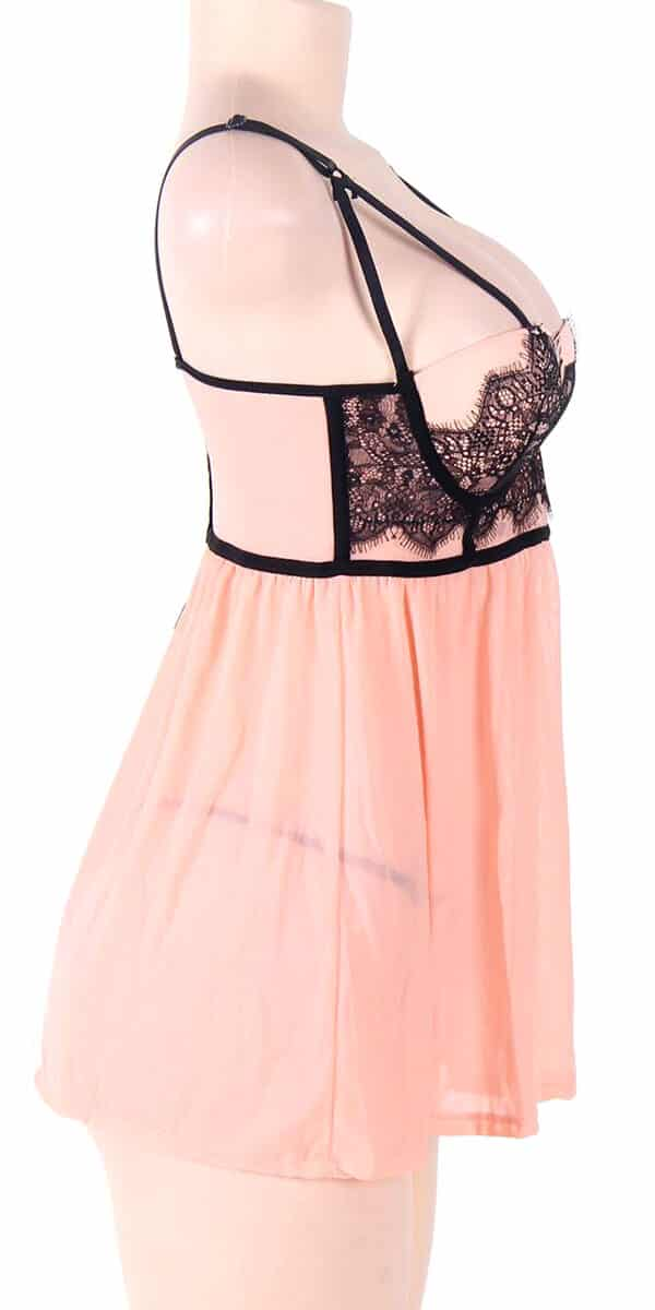 mesh floral lace babydoll sexy women's lingerie