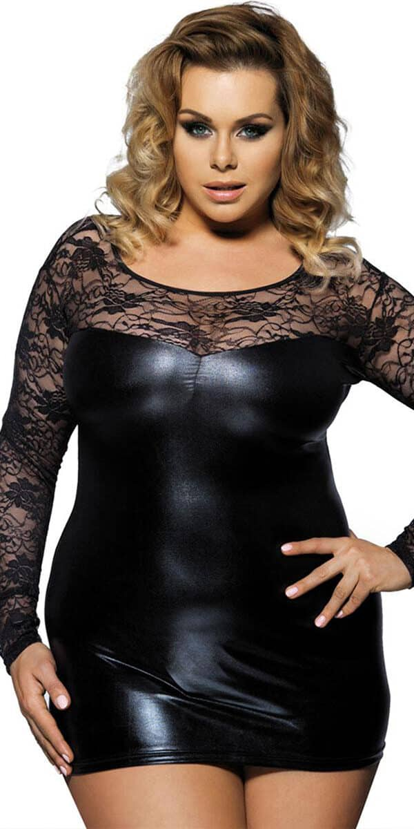 Plus Size Black Leather Lace Mini Dress