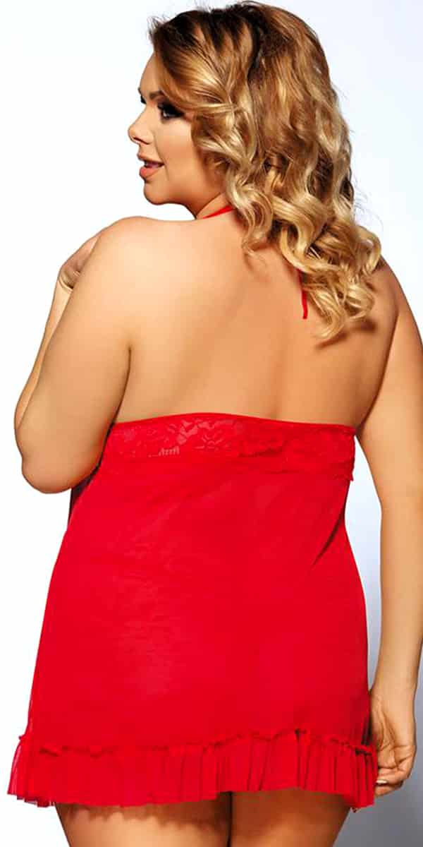 plus size halter babydoll with g-string sexy curvy women's lingerie