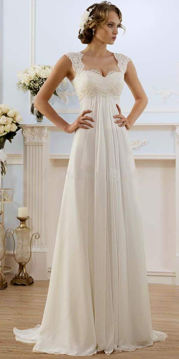 a-line chiffon lace long beach wedding dress sexy women's cheap bridal gown