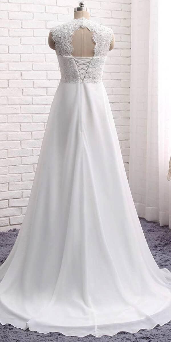 a-line chiffon lace long beach wedding dress sexy women's cheap bridal gown