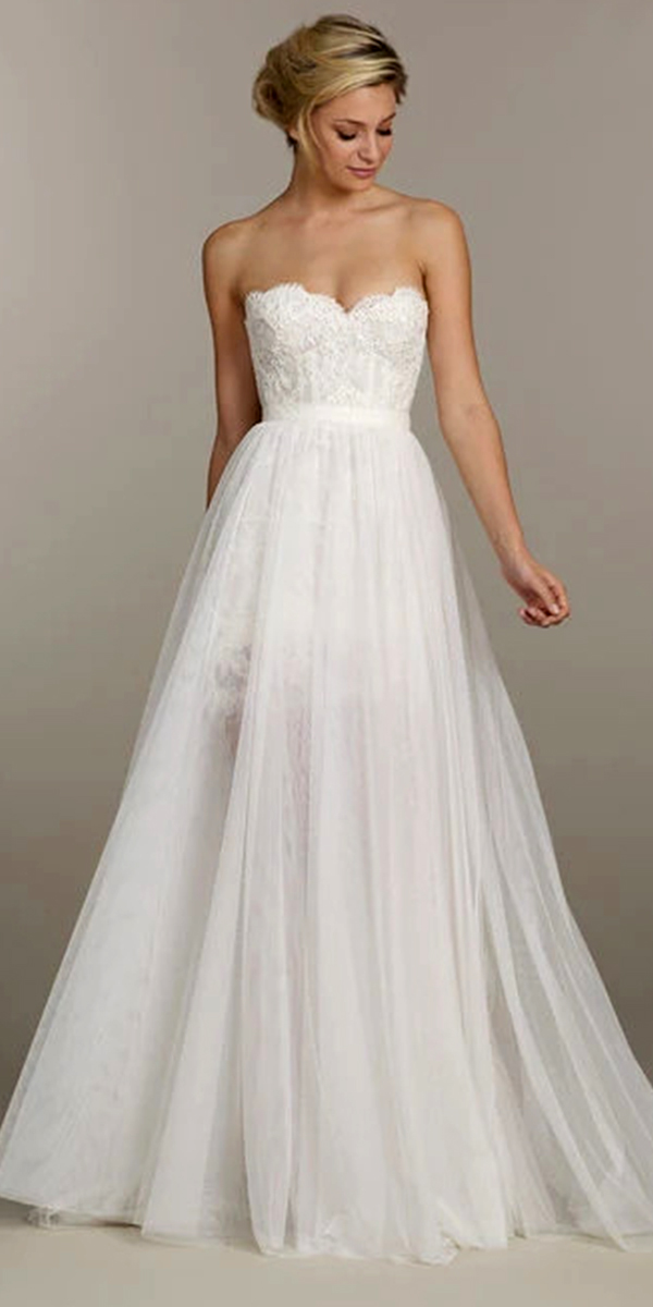 a-line lace chiffon wedding dress with detachable skirt sexy women's cheap bridal gown