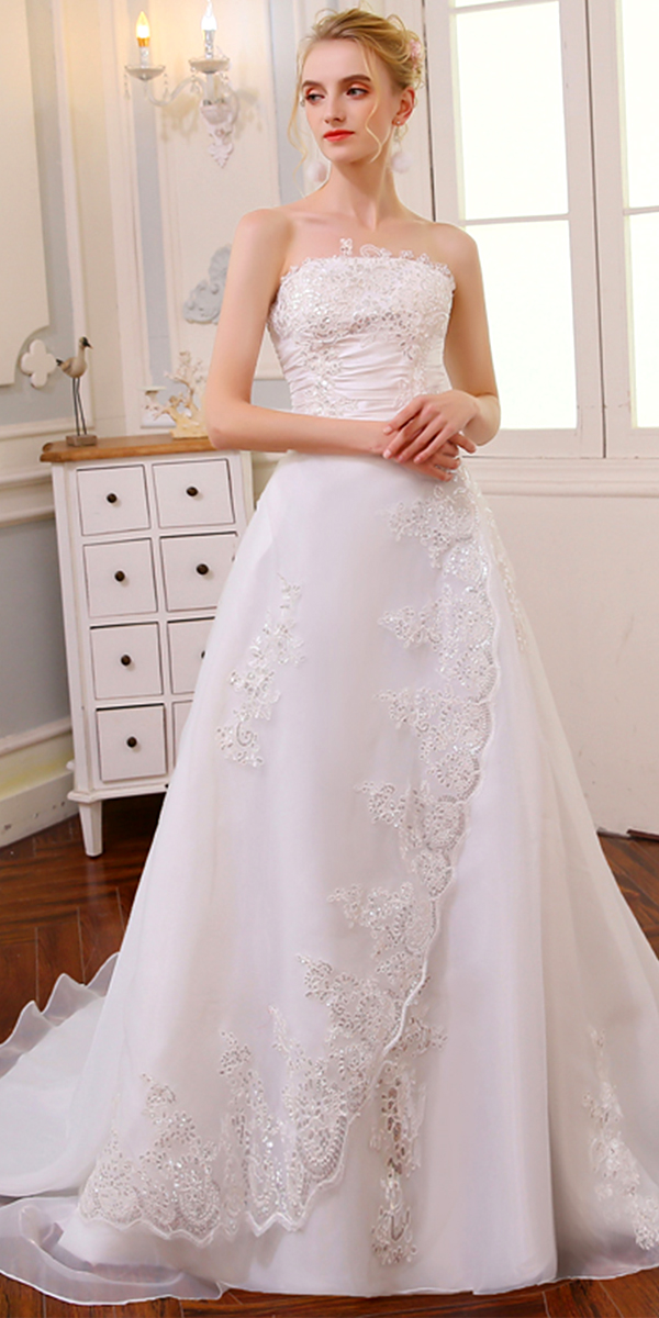 a-line organza lace vintage long wedding dress sexy women's cheap bridal gown