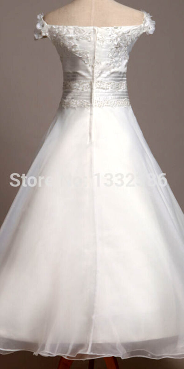 a-line organza long flower girl dress cheap kids bridal gown wedding
