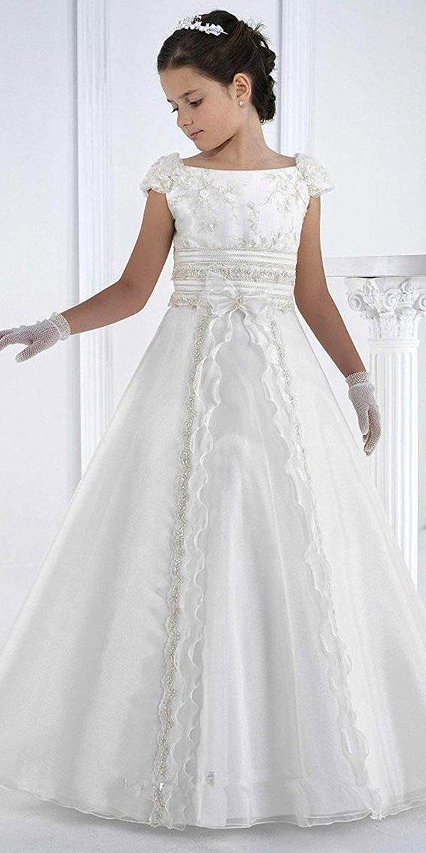 a-line organza long flower girl dress cheap kids bridal gown wedding