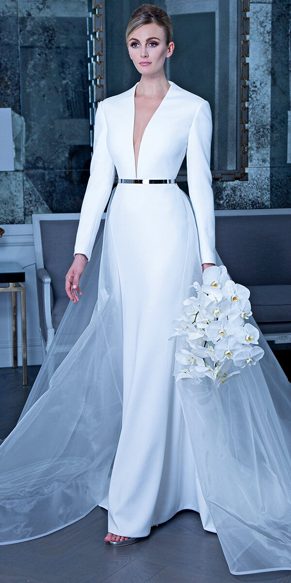 a-line satin wedding dress with detachable skirt sexy women's cheap bridal gown