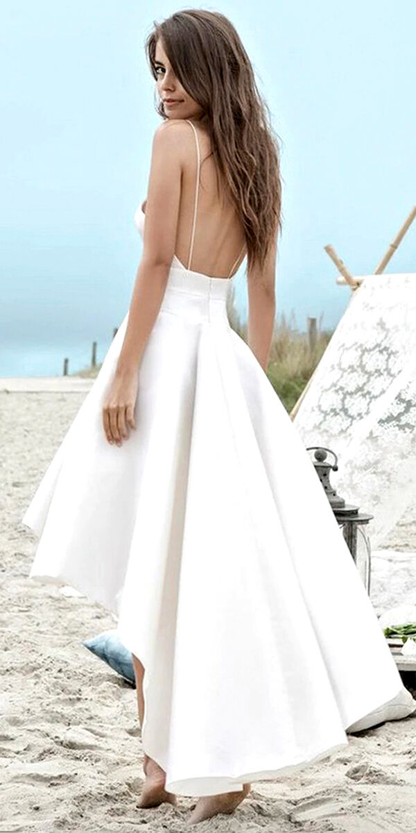 a-line taffeta sleeveless high-low beach wedding dress sexy bridal gown