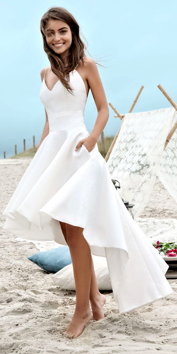 a-line taffeta sleeveless high-low beach wedding dress sexy bridal gown