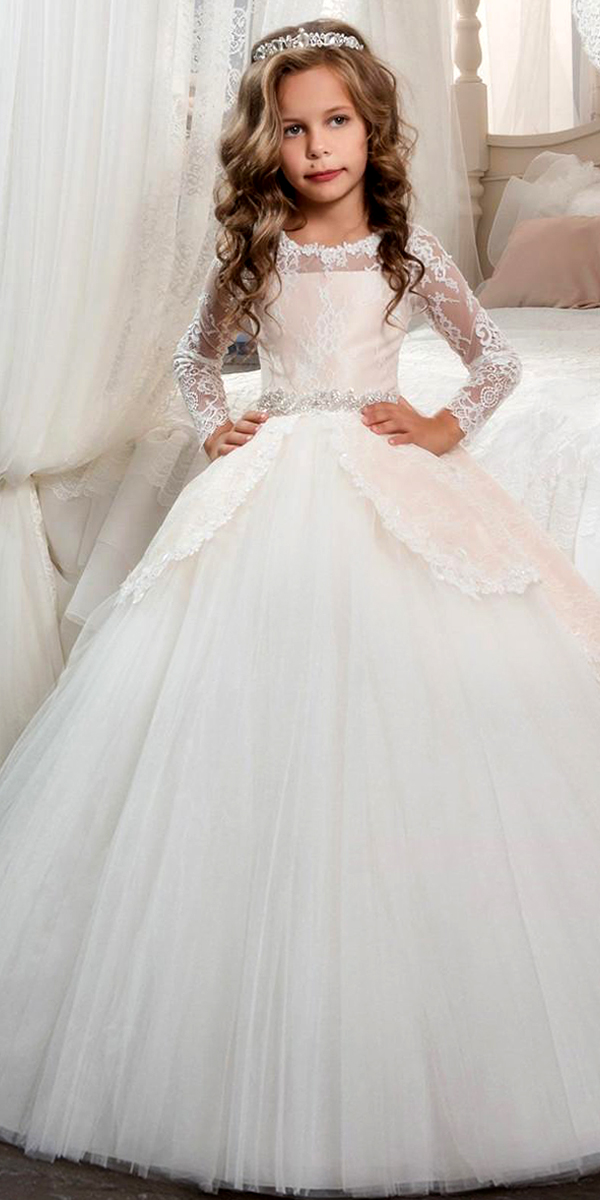 a-line tulle lace flower girl dress with detachable skirt sexy kids bridal wedding gown