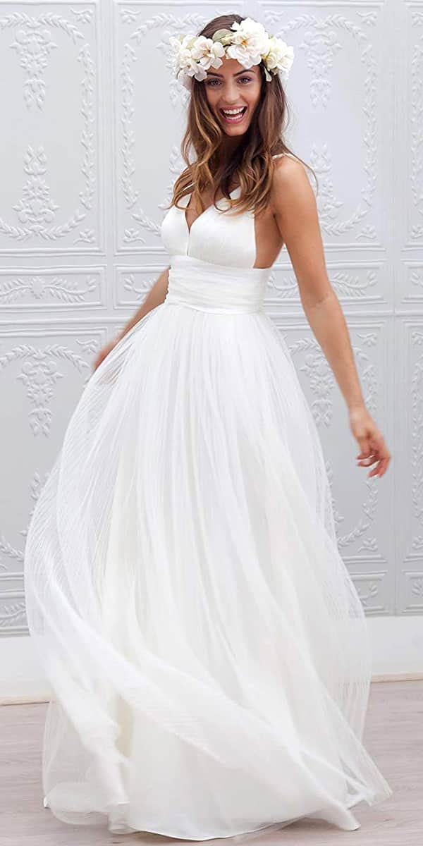 a-line tulle ruched long beach wedding dress sexy women's cheap bridal gown