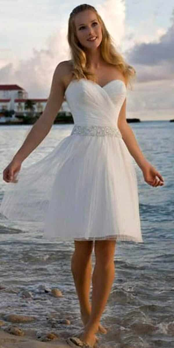 a-line tulle sleeveless knee-length beach wedding dress sexy women's bridal gown