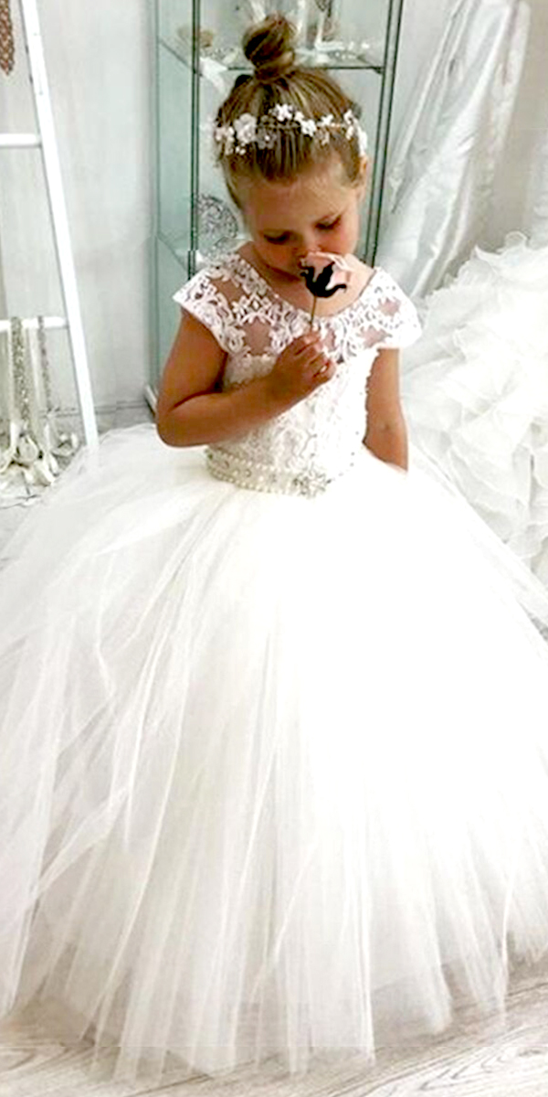 lace tulle fluffy flower girl dress cheap kids bridal wedding gown