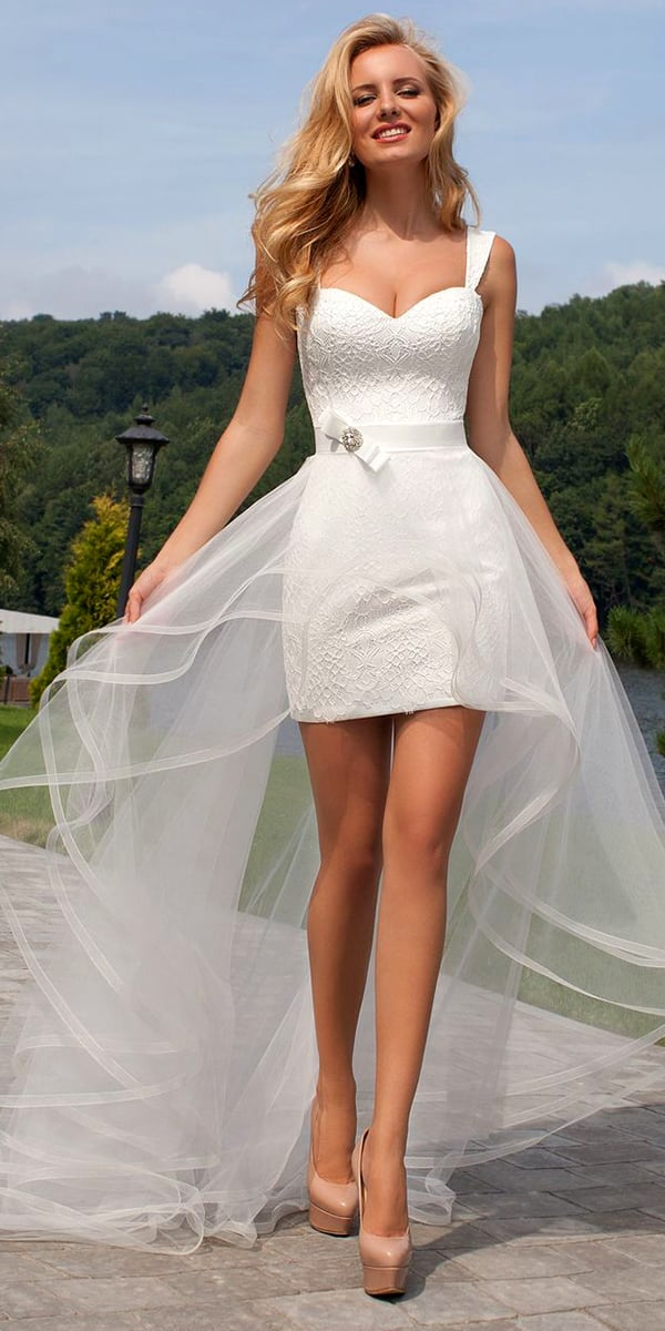 a-line tulle sleeveless short beach wedding dress with detachable train sexy women's bridal gowns