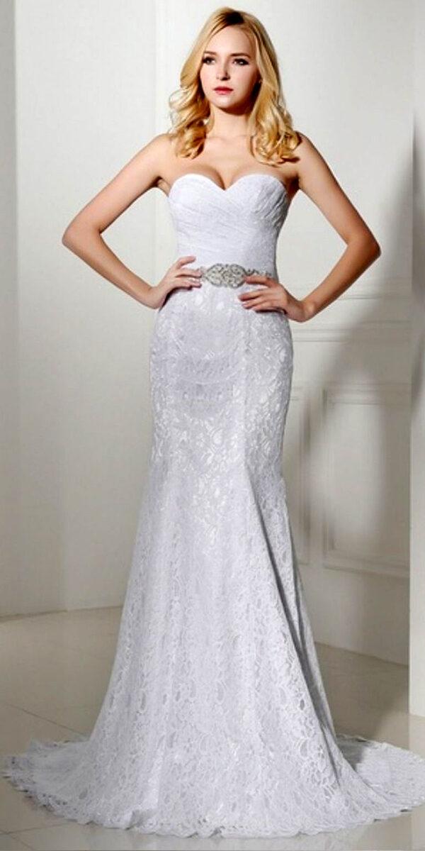 mermaid lace vintage wedding dress sexy women's cheap bridal gown