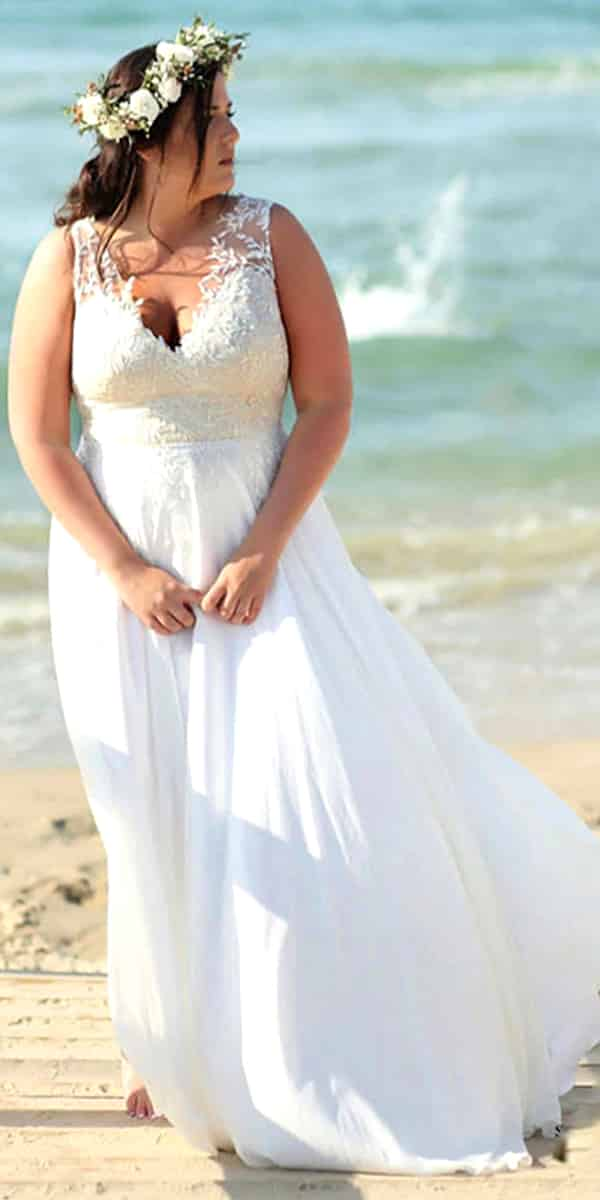plus size a-line beach chiffon lace wedding dress sexy women's cheap curvy bridal gown