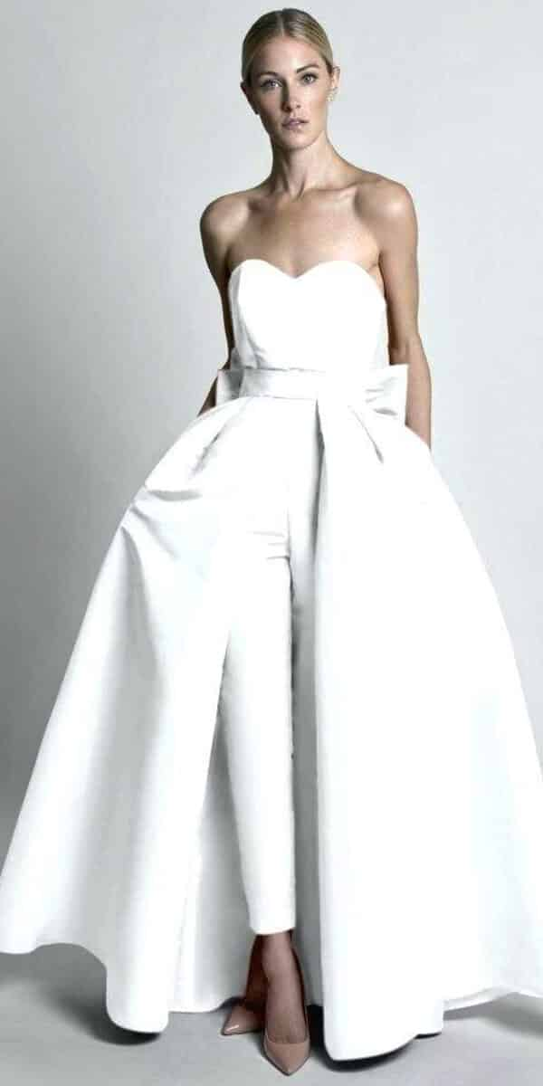 Satin Jumpsuit Wedding Dress With Detachable Skirt Cheap Bridal Gown