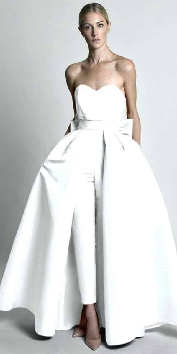 satin jumpsuit wedding dress with detachable skirt sexy women's cheap bridal gown