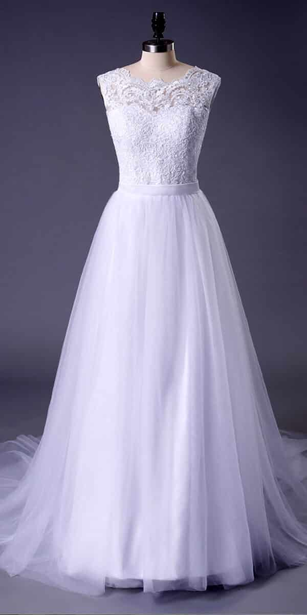 a-line tulle lace sleeveless long beach wedding dress sexy women's bridal gowns