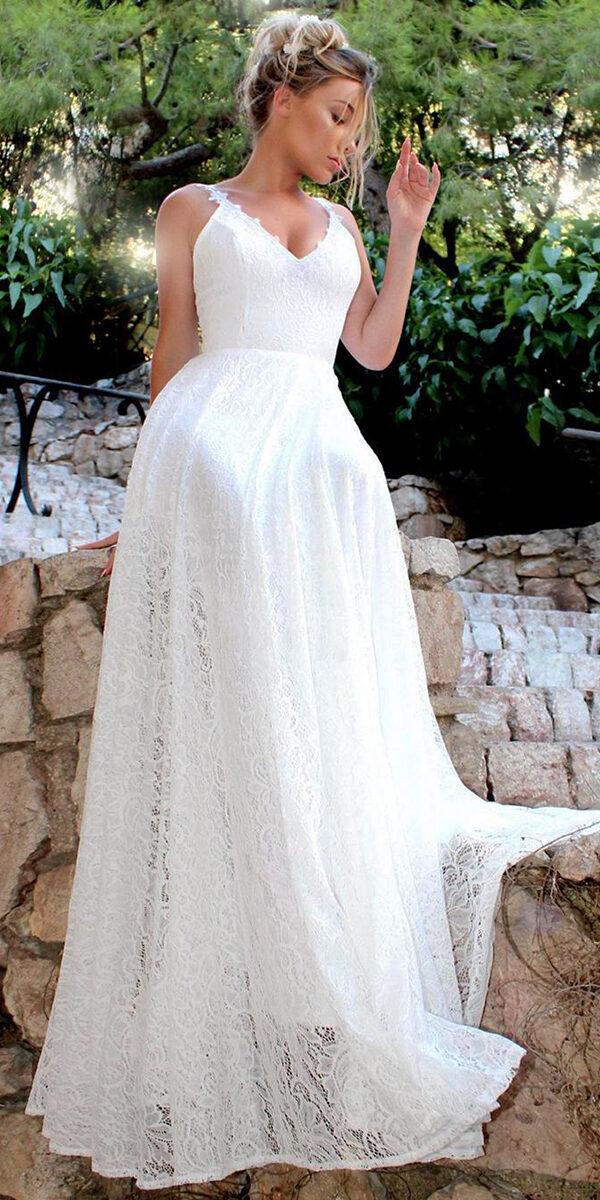 white a-line lace long wedding dress sexy women's cheap bridal gown