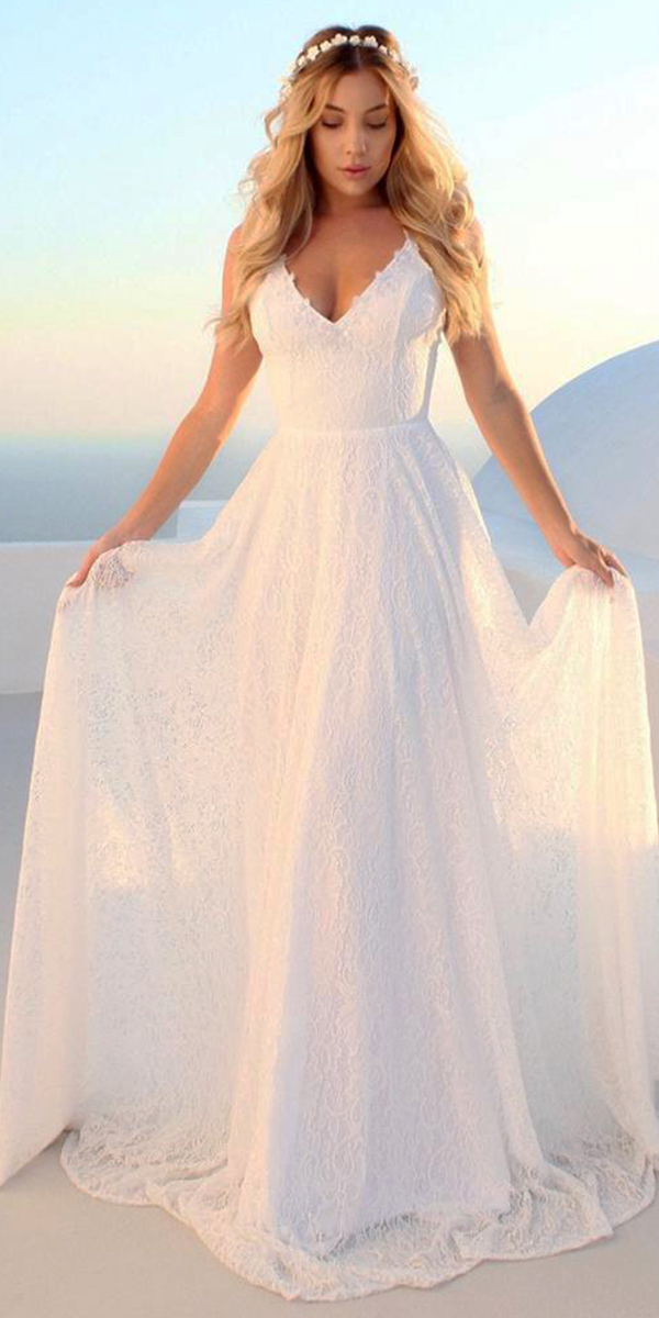 white a-line lace long wedding dress sexy women's cheap bridal gown