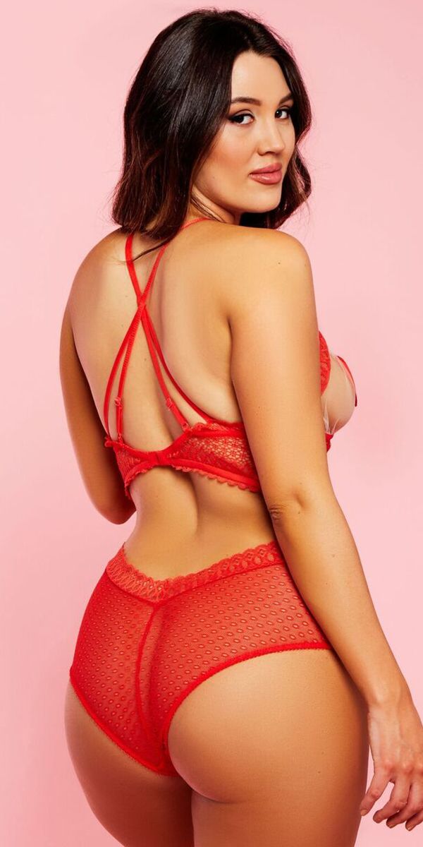 plus size red heart mesh lace strappy teddy sexy curvy women's lingerie for valentine's day
