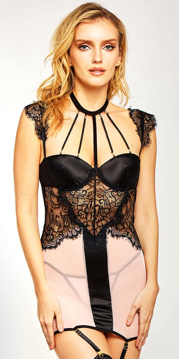 black and pink mesh lace chemise with matching g-string sexy women's lingerie