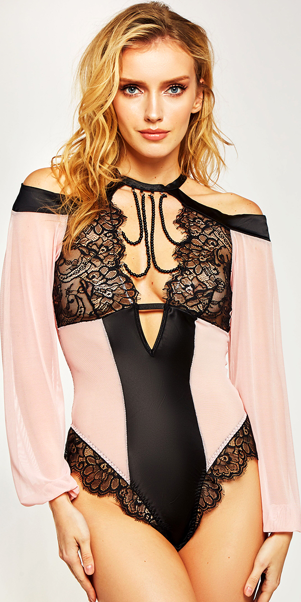 black and pink mesh lace teddy with long sleeves sexy women's lingerie