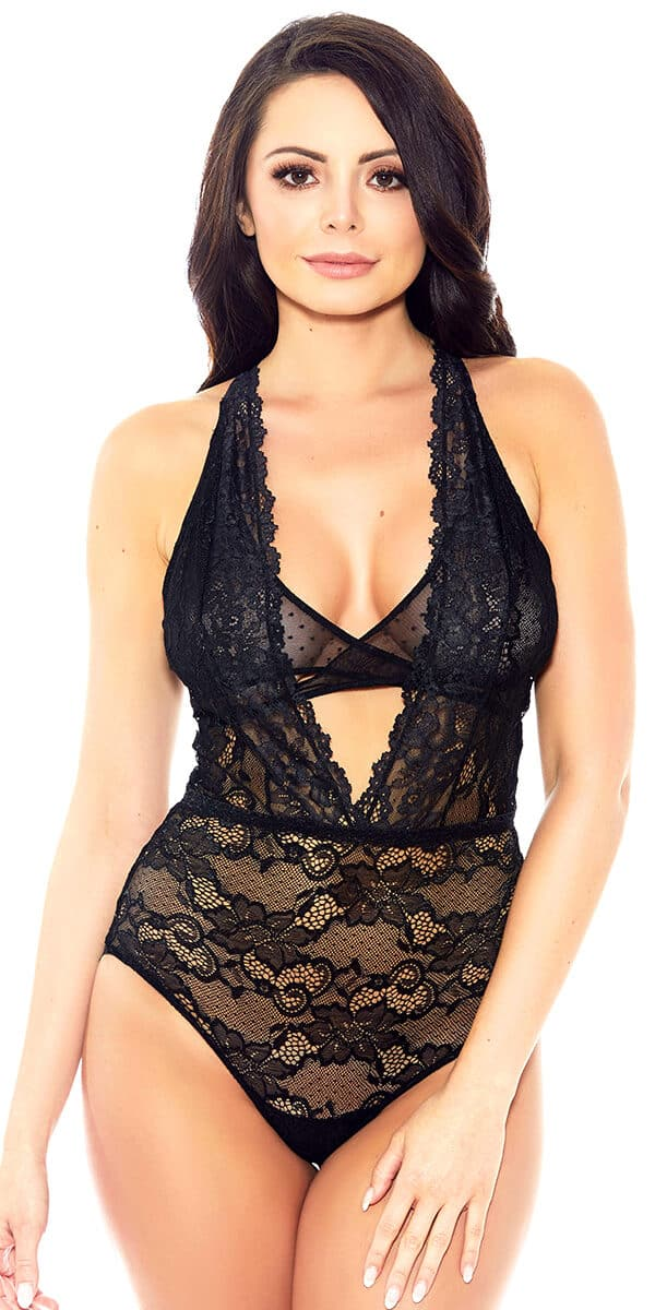 black lace mesh teddy with deep n-neck sexy women's lingerie