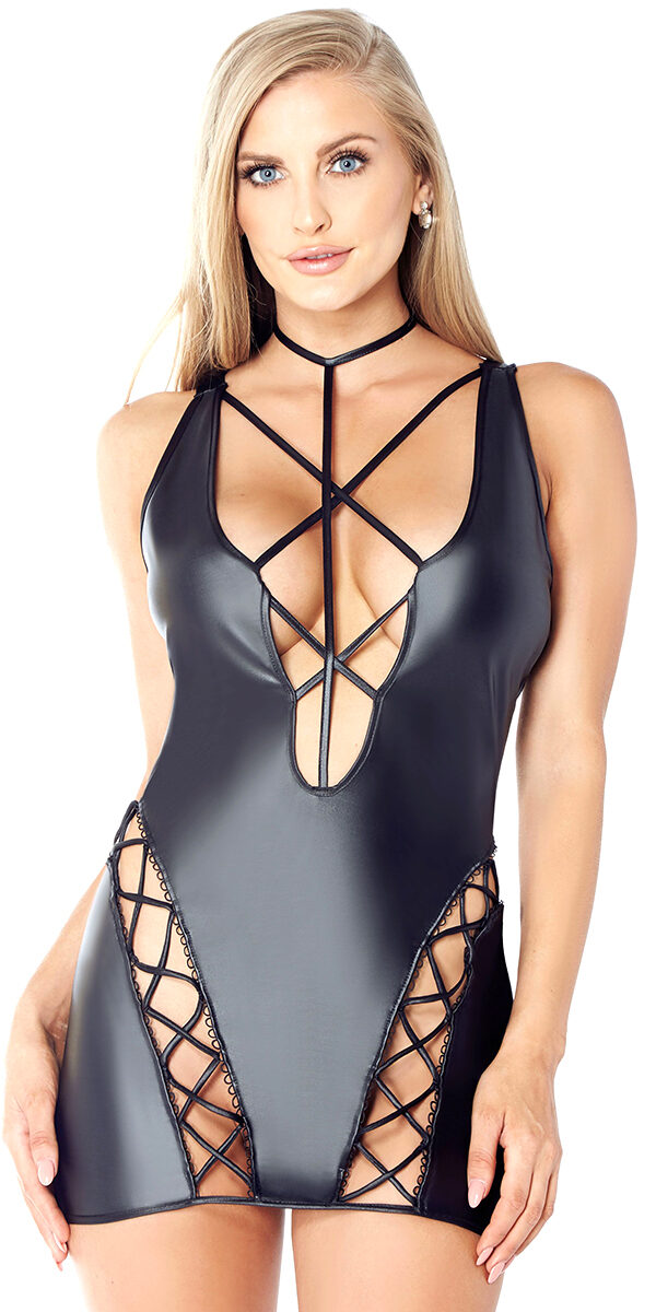 black pleather strappy chemise with choker sexy women's lingerie vinyl