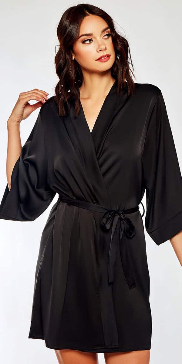 black satin lace insert robe sexy women's loungewear