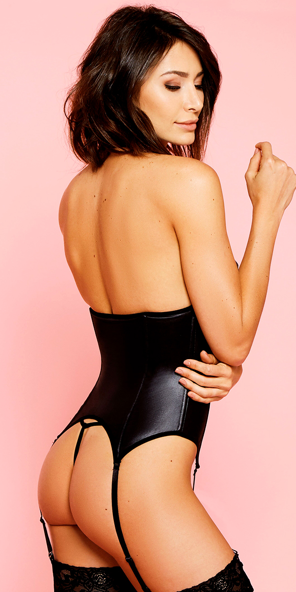 black topless leatherette corset sexy women's lingerie