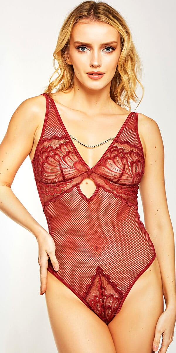 burgundy mesh lace teddy sexy women's lingerie