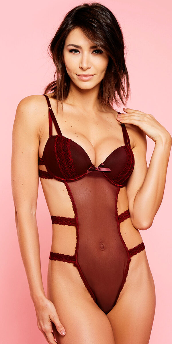 burgundy stretch mesh teddy sexy women's lingerie