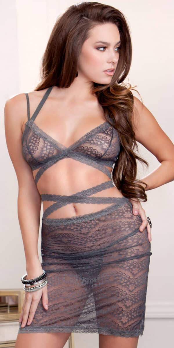 grey strappy lace bralette and skirt set sexy women's intimates