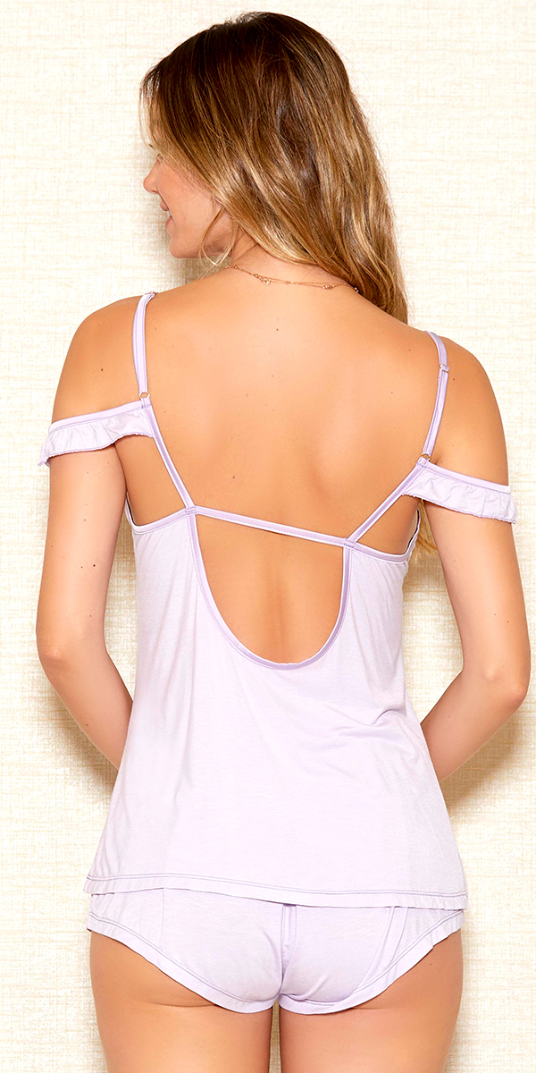 lilac off-the-shoulder cami and shorts set sexy women's lingerie