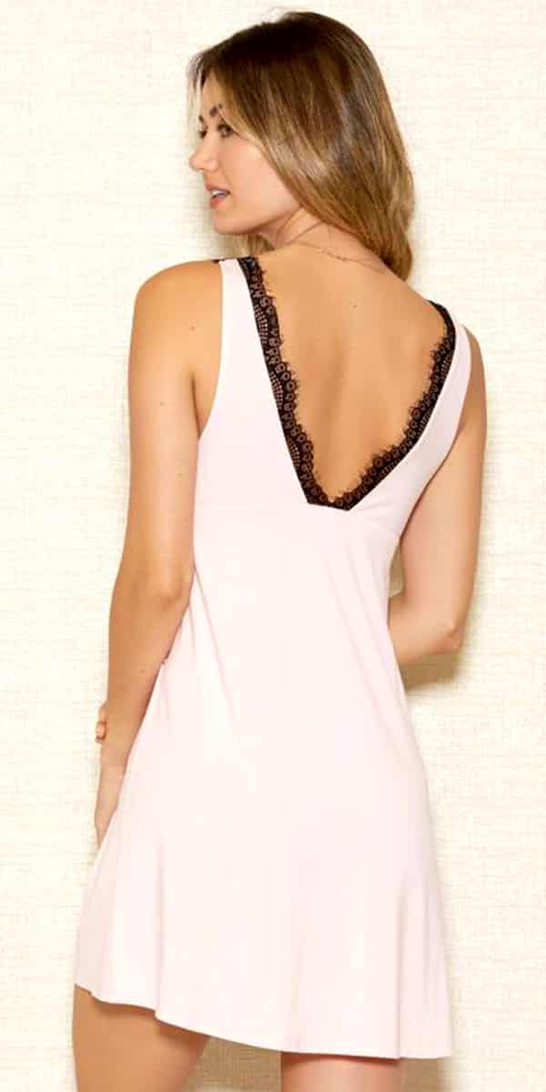 pink modal chemise with black lace overlay sexy women's lingerie