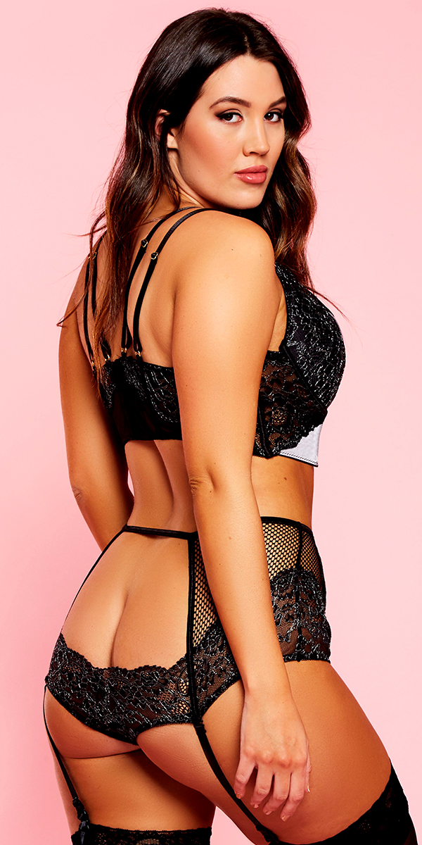 plus size black and grey lace mesh satin bra set sexy curvy women's lingerie