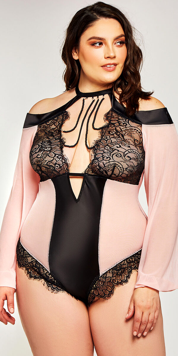plus size black and pink mesh lace teddy with long sleeves sexy curvy women's lingerie